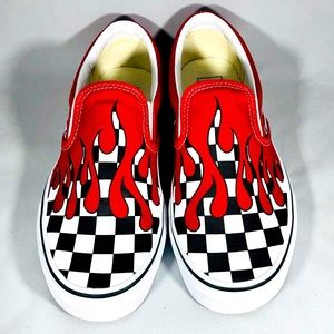 Vans Slip-On Checkerboard Flame Red & White Shoes